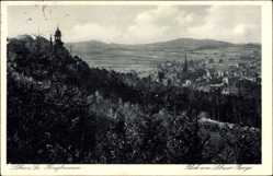 Postcard Löbau in Sachsen, Honigbrunnen, Blick vom Löbauer Berge auf den Ort