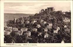 Postcard Marburg an der Lahn, Teilansicht vom Ort mit dem Schloss, Häuser