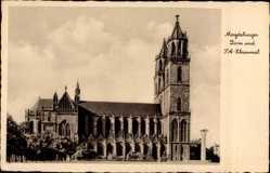 Postcard Magdeburg in Sachsen Anhalt, Dom und SA Ehrenmal