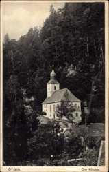 Postcard Oybin in Sachsen, Blick auf die Ortskirche am Wald