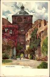 Künstler Litho Mutter, K., Heidelberg am Neckar, am Schlosstor