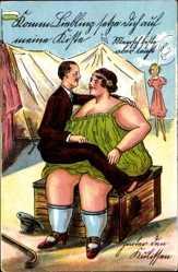 Künstler Ak Komm Liebling setzt Dich auf meine Kiste, dicke Frau