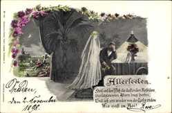 Künstler Ak Loes, Allerseelen, Braut mit Bräutigam, Friedhof, Geist
