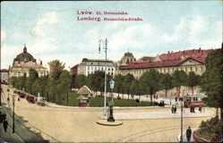 Postcard Lwów Lemberg Ukraine, Ul. Hetmanska, Straßenpartie, Straßenbahn