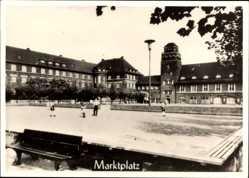 Foto Ak Mengede Dortmund im Ruhrgebiet, Markt mit Rathaus, Repro