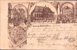 Litho Hansestadt Bremen, Rathaus mit Ratskeller, Innenansicht
