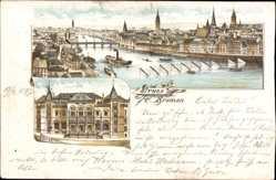 Litho Hansestadt Bremen, Gesamtansicht der Stadt mit Börse