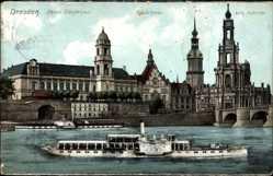 Postcard Dresden, Neues Ständehaus, Schloss, Hofkirche, Elbdampfer Auguste Viktoria