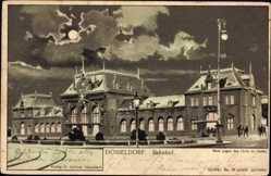 Mondschein Litho Düsseldorf am Rhein, Bahnhof, Straßenseite