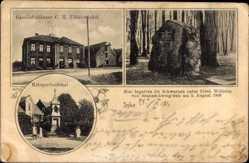 Postcard Syke Niedersachsen, Geschäft Uhlenwinkel, Kriegerdenkmal, Gedenkstein