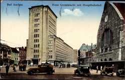 Postcard Aachen in Nordrhein Westfalen, Haus Grenzwacht, Hauptbahnhof, Straßenverkehr