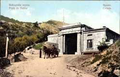 Postcard Crimée Krim Ukraine, Porte de Baidar, Tor, Pferdekarren