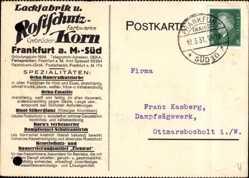 Postcard Frankfurt am Main, Lackfabrik Rostschutz Farbwerke, Gebrüder Korn