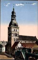 Postcard Riga Lettland, Ansicht der Domkirche, Glockenturm