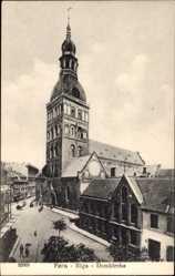 Postcard Riga Lettland, Ansicht der Domkirche, Vorplatz