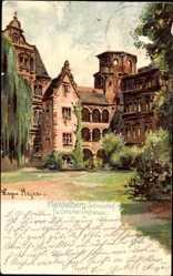 Künstler Litho Meyer, Edgar, Heidelberg am Neckar, Schlosshof, Otto Heinrichsbau