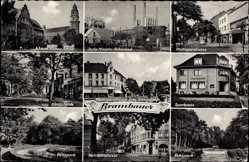 Postcard Brambauer Lünen, Waltroperstraße, Sparkasse, Volkspark, Königsheide