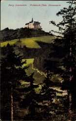 Postcard Lauenstein Ludwigsstadt im Kreis Kronach Oberfranken, Burg, Grenzwarte