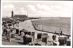 Postcard Büsum Dithmarschen, Südstrand mit Leuchtturm, Meer, Strandkörbe