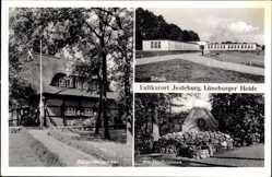 Postcard Jesteburg im Kreis Harburg, Schule, Bürgermeisteramt, am Dorfbrunnen