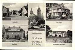 Postcard Lohne im Oldenburger Münsterland, Marktplatz, Gertrudiskirche, Post, Rathaus