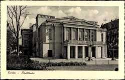 Postcard Görlitz in der Lausitz, Blick auf das Stadttheater, Park, Laternen