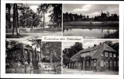 Postcard Tosterglope Niedersachsen, Dorfstraße, Badeteiche,Villa Saucke,Gastwirtschaft