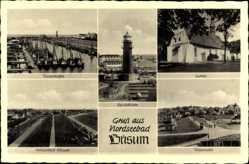 Postcard Büsum Dithmarschen, Leuchtturm, Fischerhafen, Kirche, Teilansicht