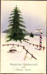 Handgemalt Ak Glückwunsch Neujahr, Kriegsjahr 1916, Tanne, Winter