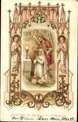 Präge Ak Andenken an die erste heilige Kommunion, Engel