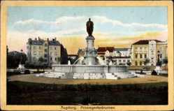 Postcard Augsburg in Schwaben, Partie am Prinzregentenbrunnen