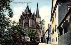 Postcard Regensburg an der Donau Oberpfalz, Der Dom mit Domgarten