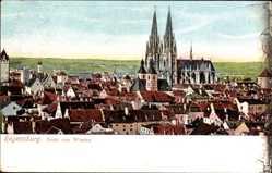 Postcard Regensburg an der Donau Oberpfalz, Blick über die Dächer auf den Dom