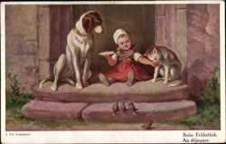 Mädchen mit Katze am Rosenstrauch Postkarte