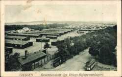 Postcard Gießen an der Lahn Hessen, Blick auf Kriegsgefangenenlager, Straßenbahn