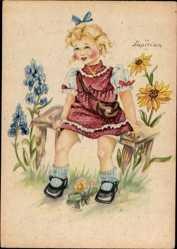Künstler Ak Lupicina, Mädchen in rotem Kleid mit weißen Punkten, Blumen