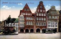 Postcard Hansestadt Bremen, Kaiser Wilhelm Denkmal, Straßenbahn, Ratscafé