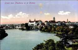 Postcard Neuburg an der Donau, Flußpartie mit Wald und Schloß