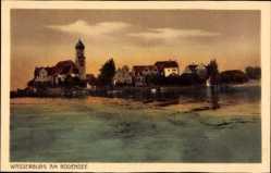 Postcard Wasserburg am Bodensee Schwaben, Blick vom Wasser auf den Ort
