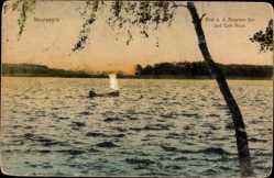 Postcard Neuruppin in Brandenburg, Blick auf den Ruppiner See und Café Alsen