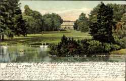 Postcard Bad Homburg vor der Höhe, Blick auf das Kurhaus und Park, Gewässer