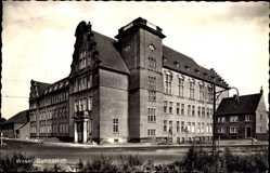 Postcard Wesel am Niederrhein, Blick von der Straße auf das Gymnasium