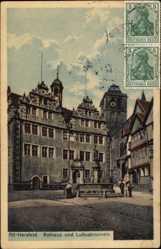 Postcard Bad Hersfeld in Hessen, Rathaus und Lullusbrunnen