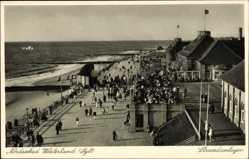Postcard Westerland auf Sylt, Nordseebad, Blick auf die Strandanlagen