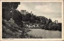 Postcard Harburg in Bayern, Flusspartie mit Ortschaft, Burg