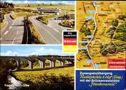 Postcard Rudolphstein Berg Oberfranken, Zonengrenzübergang, Brückenraststätte