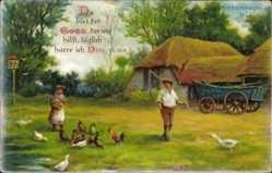 Ak Glückwunsch Geburtstag, Du bist der Gott.., Psalm 25,5, Bauernhof