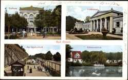 Postcard Bad Elmen Schönebeck, Kurhaus, Lindenbad, Gradierwerk, Schwanenteich