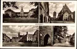 Postcard Zerbst in Anhalt, Schloss, St. Bartholomäikirche, Stadtmauer, Marktplatz