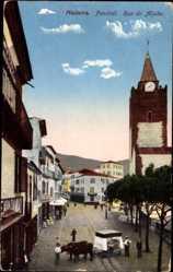 Postcard Funchal Insel Madeira Portugal, Rua do Aljube, Ochsenschlitten, Kirchturm